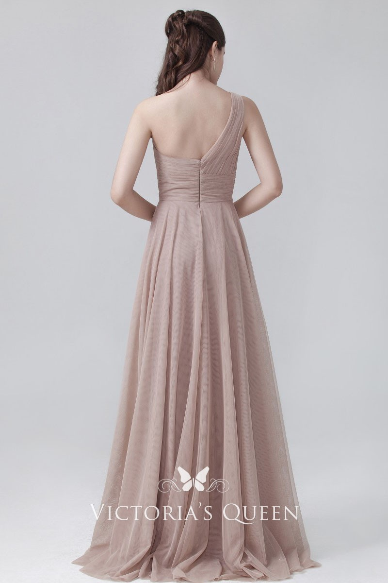 983fbf046df5 coffee tulle classical sweetheart one shoulder empire waist bridesmaid dress