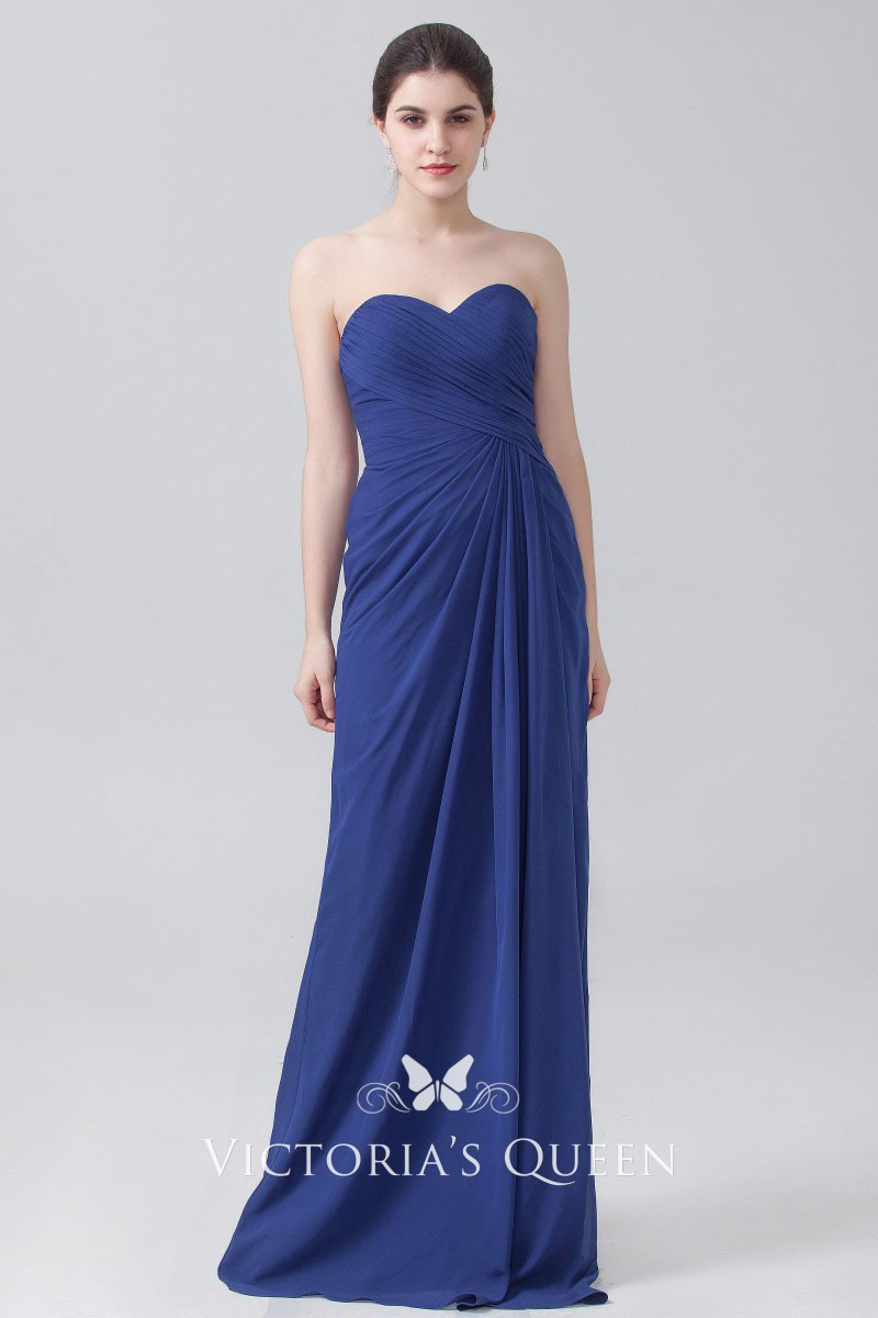 51287faa5a8f pleated blue chiffon strapless sweetheart simple floor length bridesmaid  dress