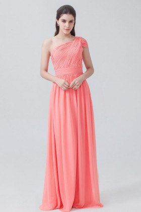 03aea048e5d5 Pleated one shoulder coral chiffon amazing A line long bridesmaid dress