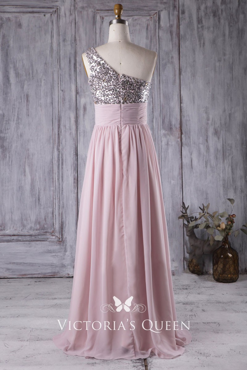 34a99f57 Asymmetrical one shoulder sequin pink chiffon empire bridesmaid dress. Asymmetrical  one shoulder sequin bodice soft pink ...