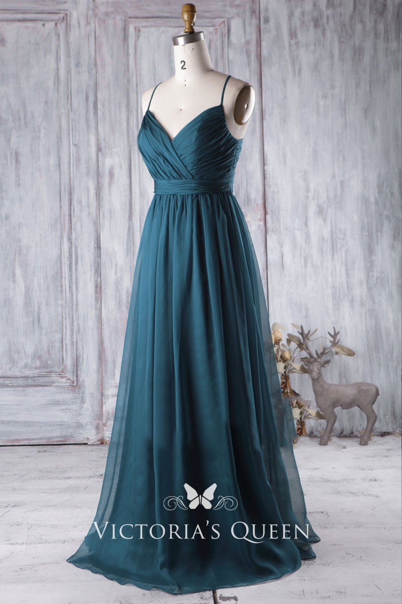 Teal Chiffon Crinkle V Neckline Spaghetti Strap A Line Long Bridesmaid Gown: Crinkled V Neck Dress Chagne Wedding At Websimilar.org