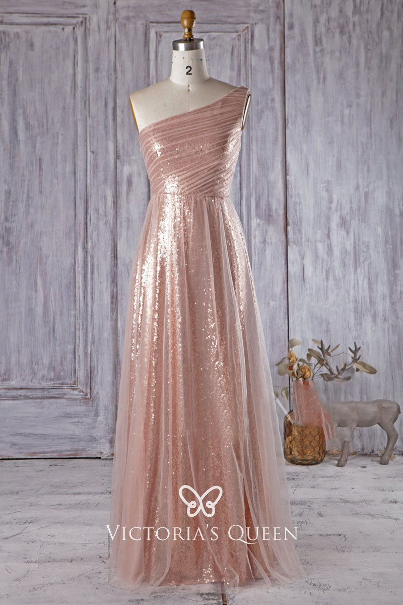 c19d3b614b8 Sheer tulle over gold sequin A line long modern one shoulder bridesmaid  dress