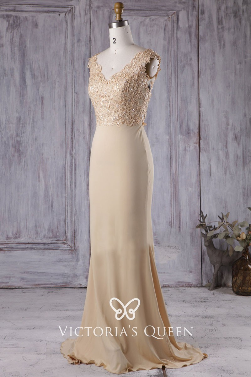Jersey Scalloped V-Neck Mermaid Gown
