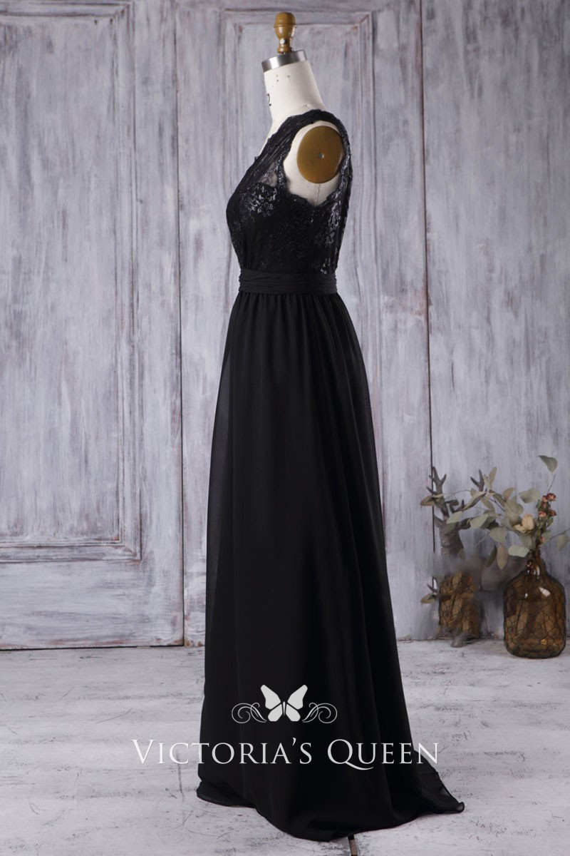 75a91bee2ca black one shoulder sweetheart sequin lace and chiffon bridesmaid dress
