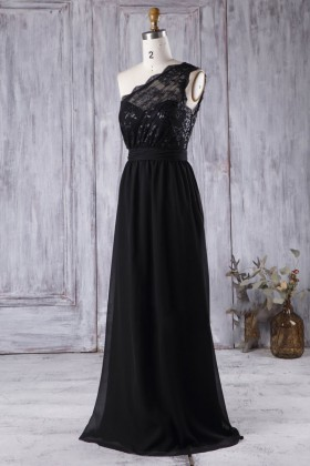 a91c83c9 scalloped black one shoulder sweetheart sequin lace and chiffon bridesmaid  dress