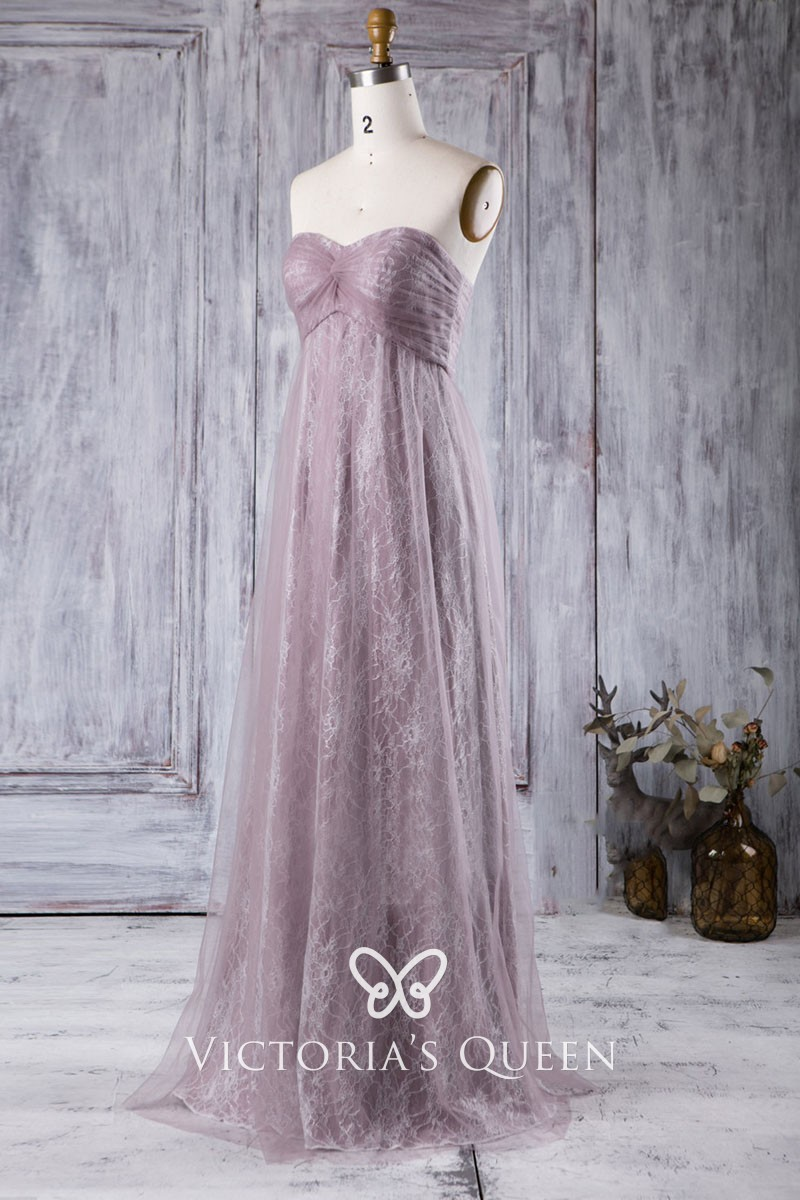 52b094c1465dc Unique Dusty Purple Lace and Tulle Strapless Empire A line Long Bridesmaid  Dress