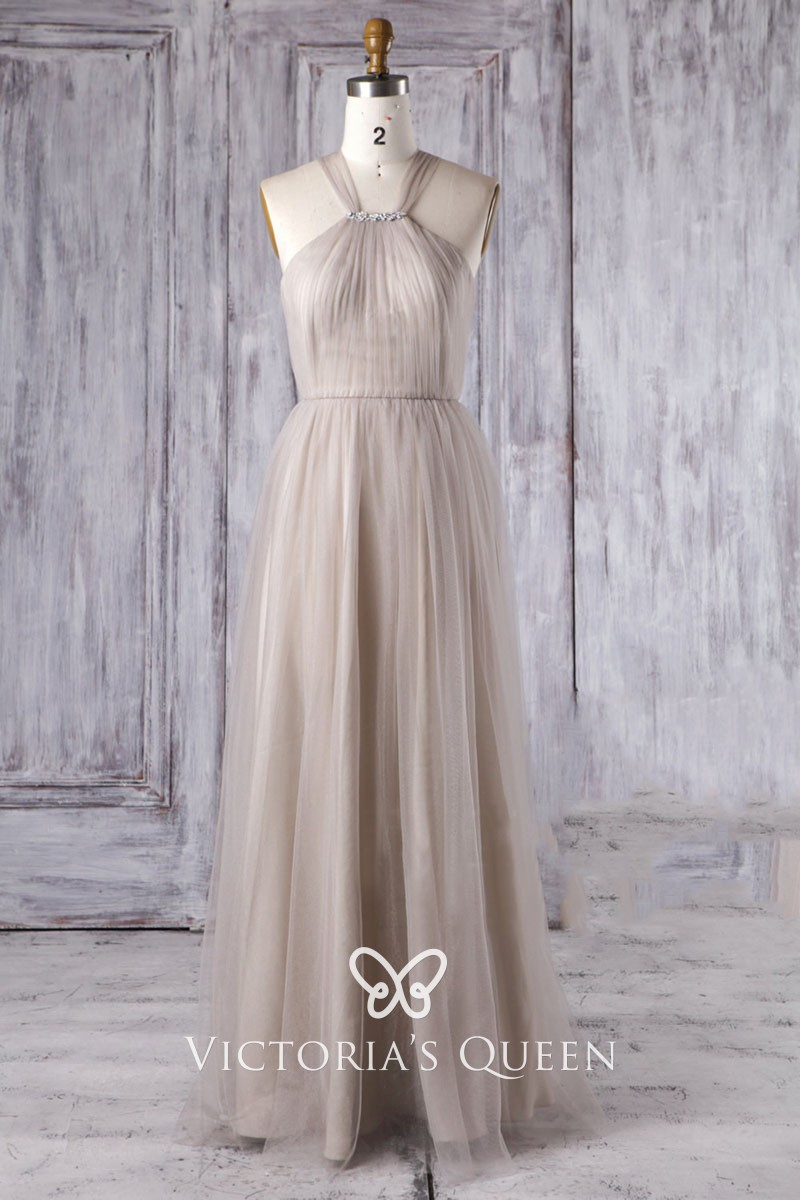 Vintage Taupe Tulle Beaded Halter Long