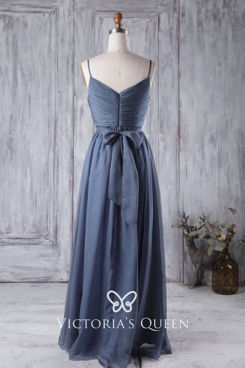 86d2048f8a1 Vintage Inspired Beaded Ink Blue Ruched Chiffon Spaghetti Strap ...