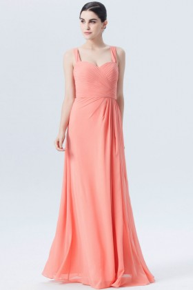 59f40ef25c2c4 pleated sweetheart wide strap light coral pink chiffon bridesmaid dress