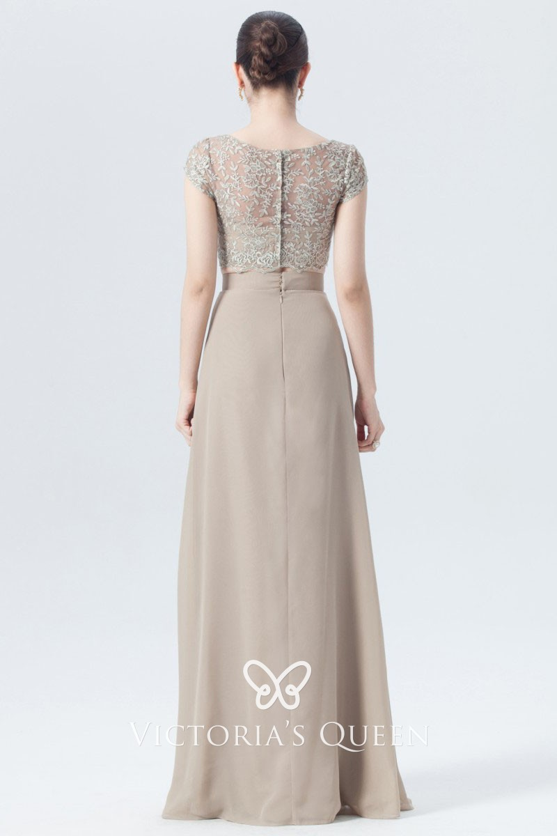 Champagne Lace and Chiffon Two-piece