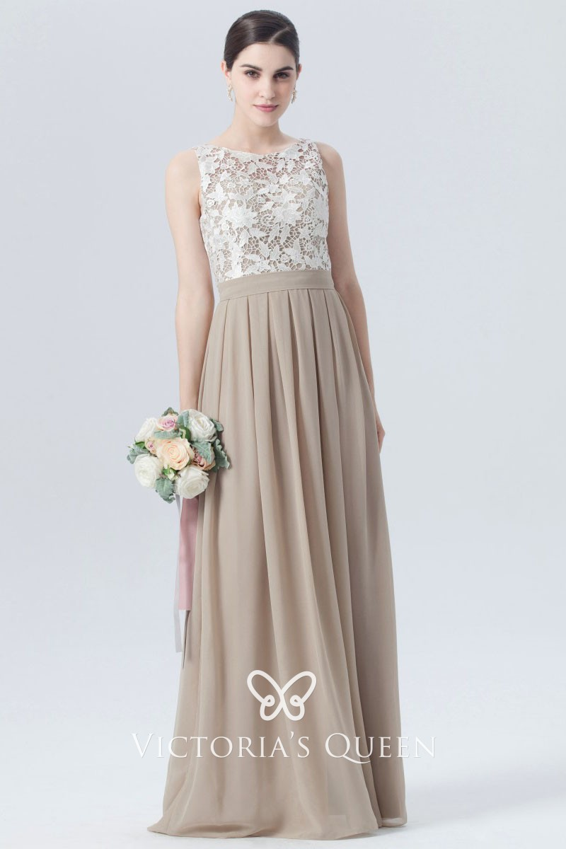 64dbd66e8799f White Floral Lace and Champagne Chiffon Sleeveless A-line Long ...