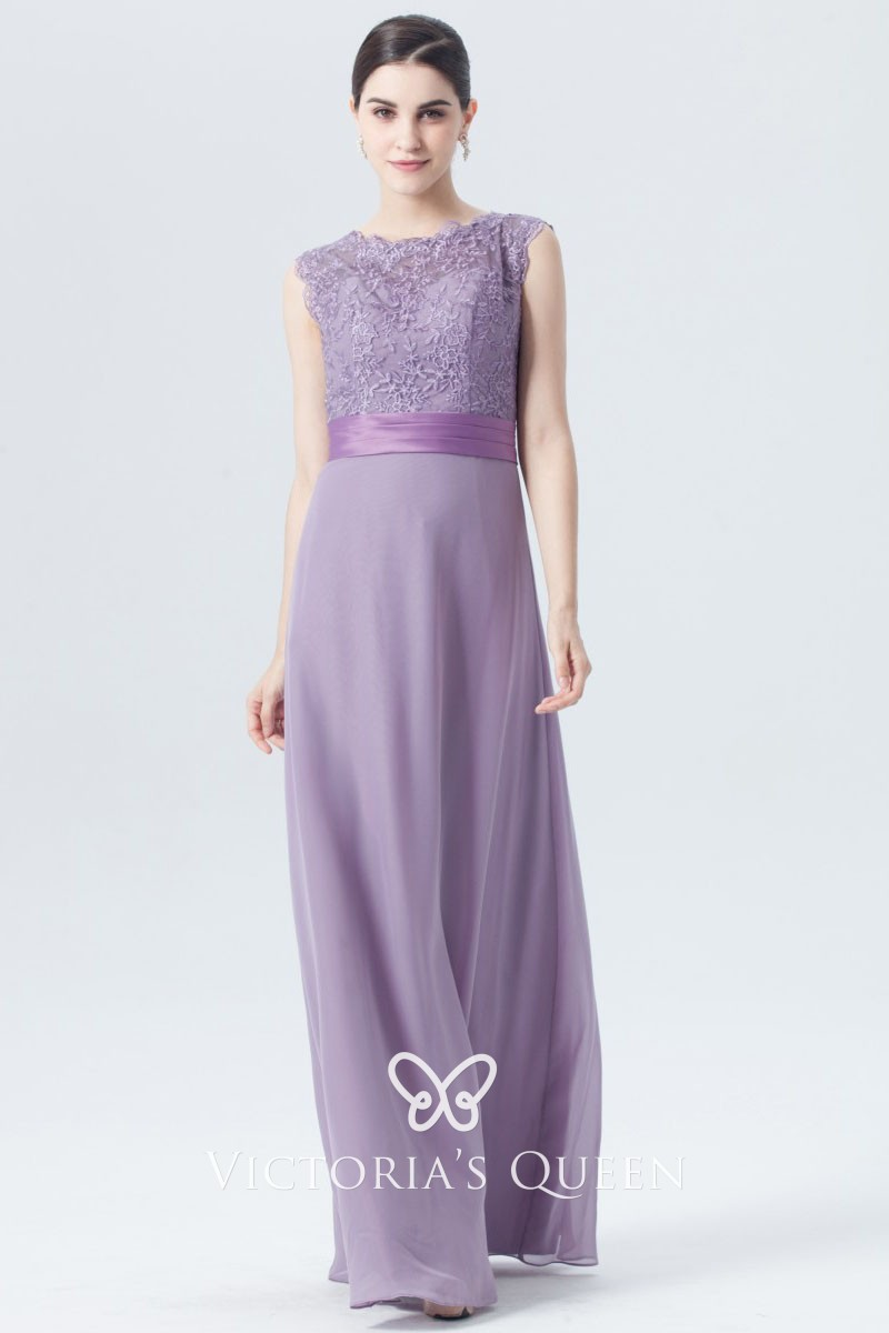 fashion best price low priced Purple Floral Lace and Chiffon Long Bridesmaid Dress