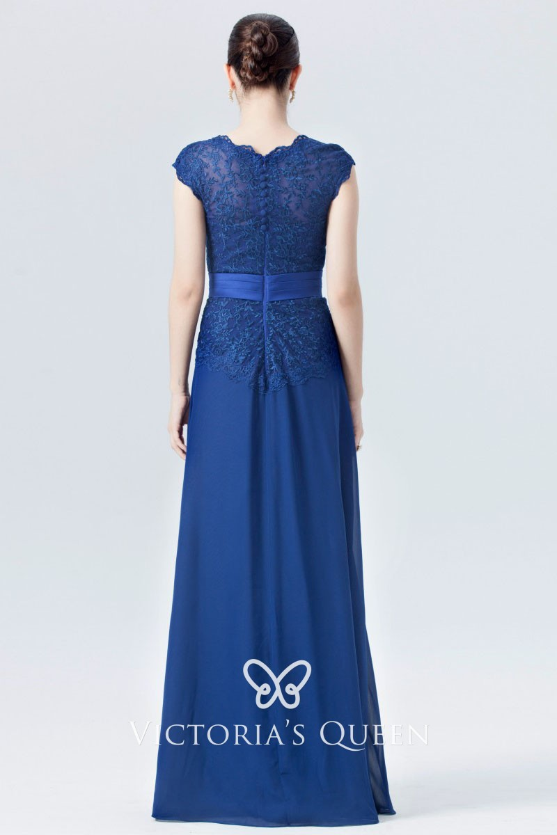Twilight Blue >> Vintage Twilight Blue Lace And Chiffon A Line Long Bridesmaid Dress With Cap Sleeves