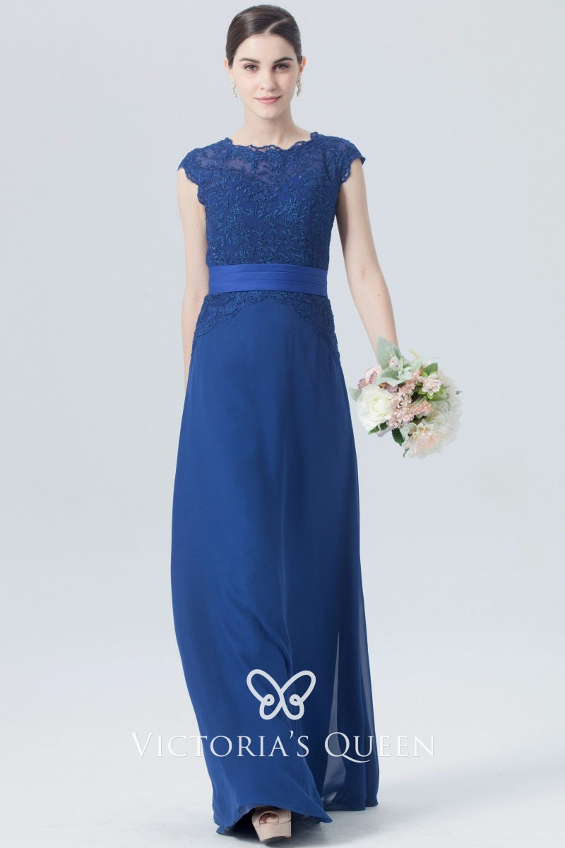 Twilight Blue Lace Bridesmaid Dress With Cap Sleeves Vq