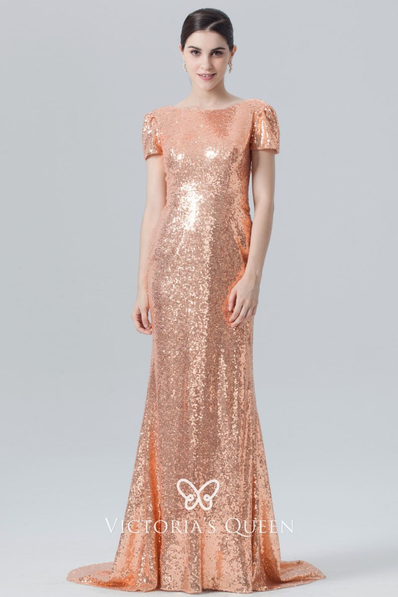 23f536af2d72b rose gold sequin boat neckline cowl back short sleeve long bridesmaid dress