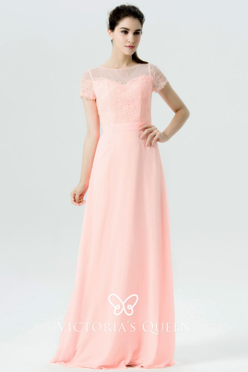 Light Pink Lace And Chiffon Illusion Short Sleeve Dress