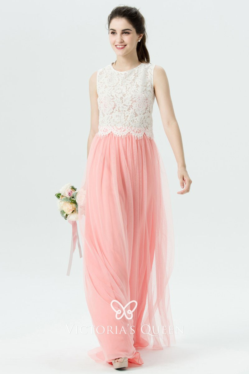 White Lace Pink Tulle Two Tone Long
