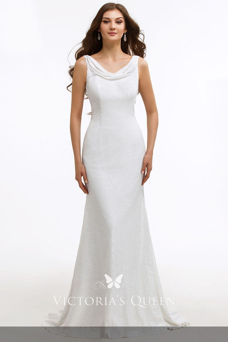 35b7fdab6d12b glittering white cowl neckline fit and flare long mother of the bride dress