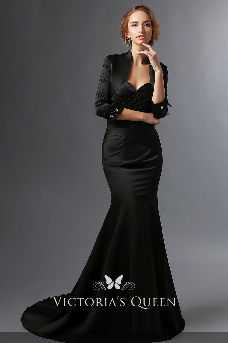Elegant Black Satin Mermaid Mother Of The Bride Dress With