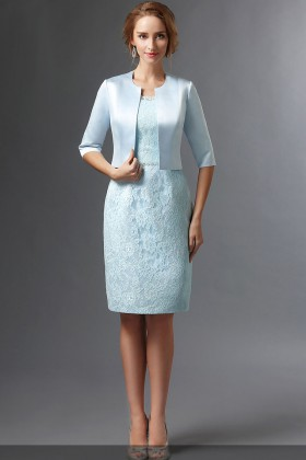 9547bdfa334c vintage knee length sky blue lace mother of the bride dress with satin  bolero jacket