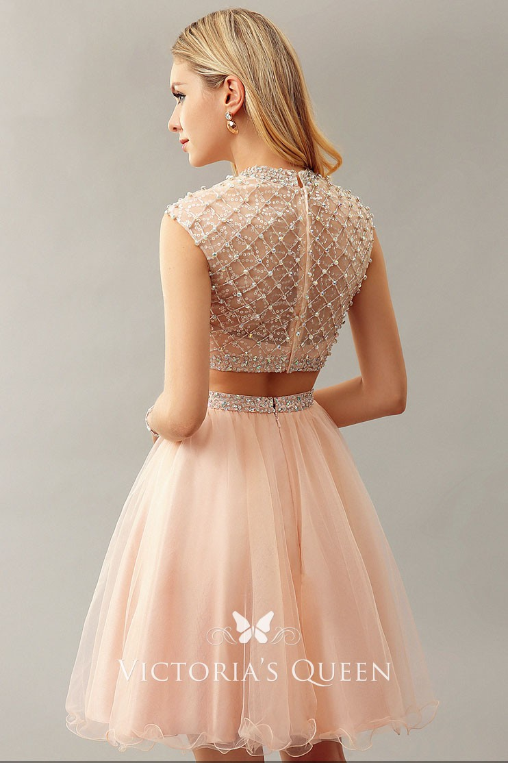 crystals beaded high neckline peach tulle two piece cocktail prom dress 85805838c