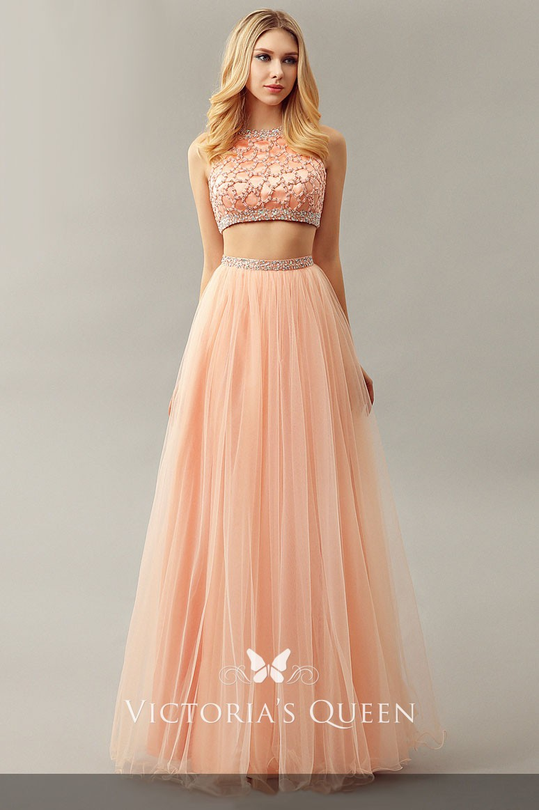 ec0b5eb99d dazzling glistening beaded floor length peach tulle two piece A line prom  dress