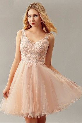 c9b087302511 sleeveless beaded peach lace and tulle V neckline short A line cocktail  dress