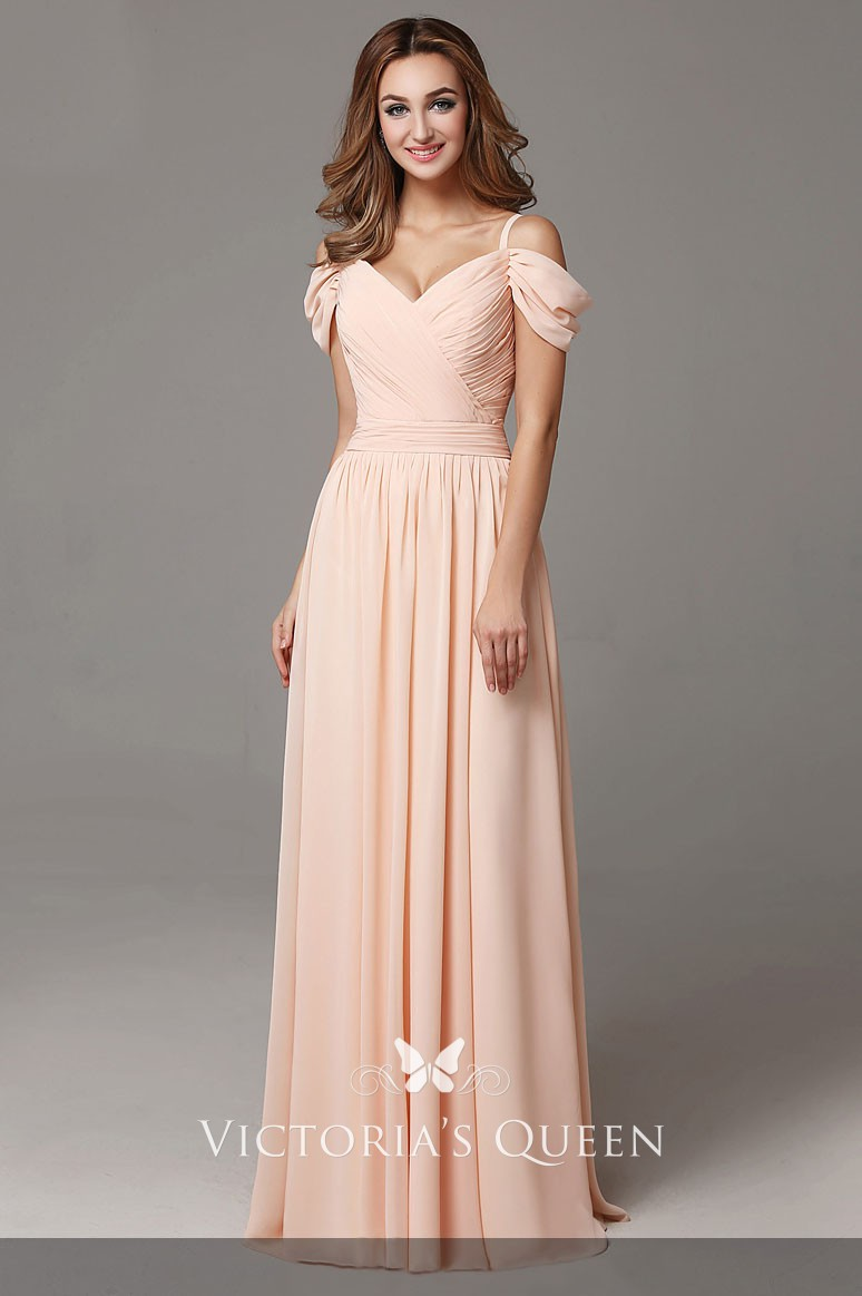Cold Shoulder Pleated Peach Chiffon Bridesmaid Dress