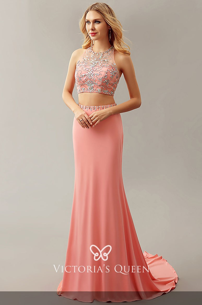 Fashionable Coral Halter Beaded Two Piece Fit And Flare