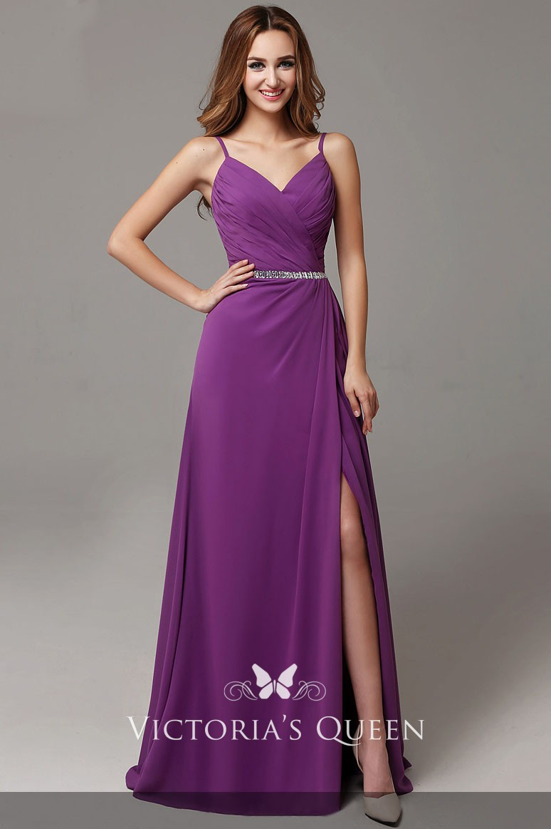 4ade9efb33 pleated beaded purple chiffon side slit A line long prom dress with spaghetti  straps