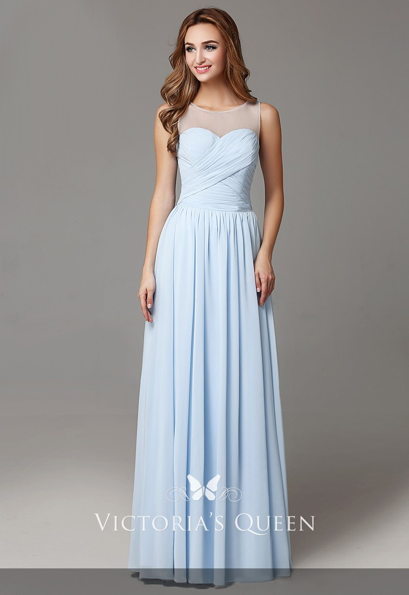 3298c469dab2 illusion neckline sleeveless sky blue chiffon A line long bridesmaid dress