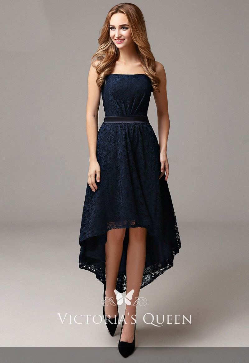 564b09b11f12 simple navy lace high low strapless straight across A line bridesmaid dress
