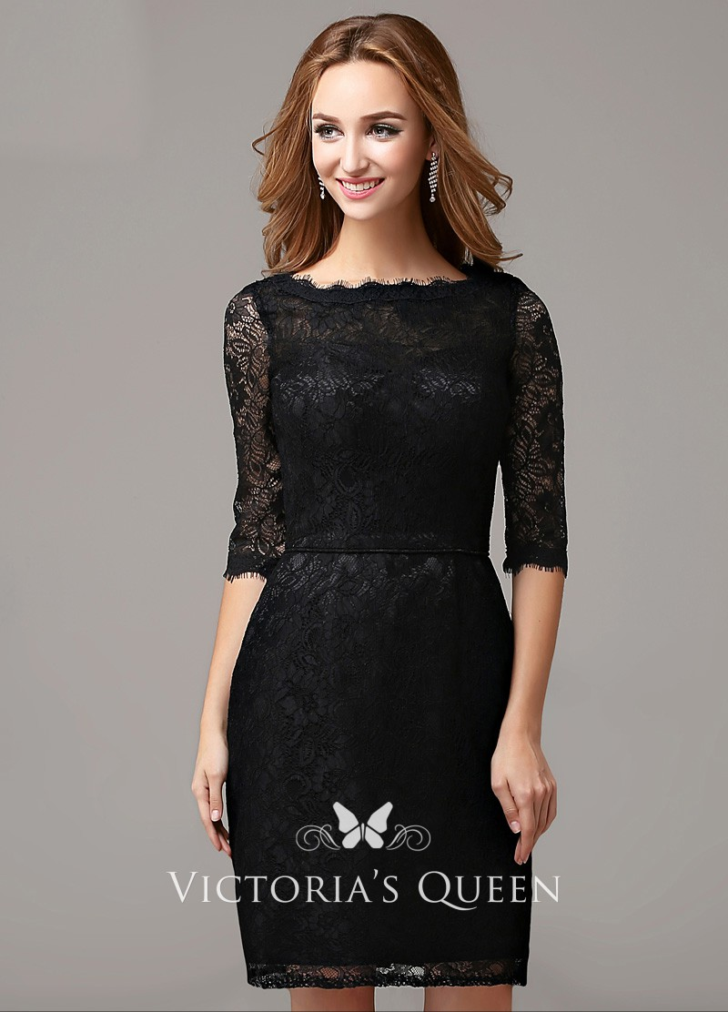 a1221c33c0b9 Elegant Bateau Neckline Half Sleeve Short Sheath Black Cocktail ...