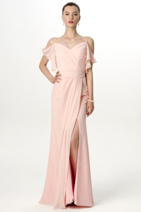 5a4df55532 Feminine ruffled details nude pink chiffon thigh high slit long bridesmaid  dress