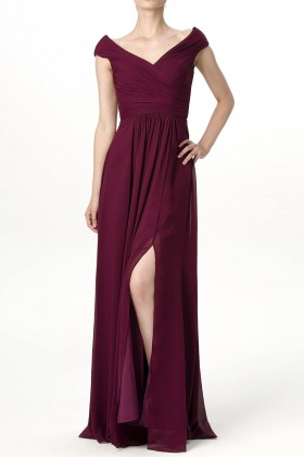 6801e24b349 Simply maroon chiffon V neck cap sleeve slit long bridesmaid dress