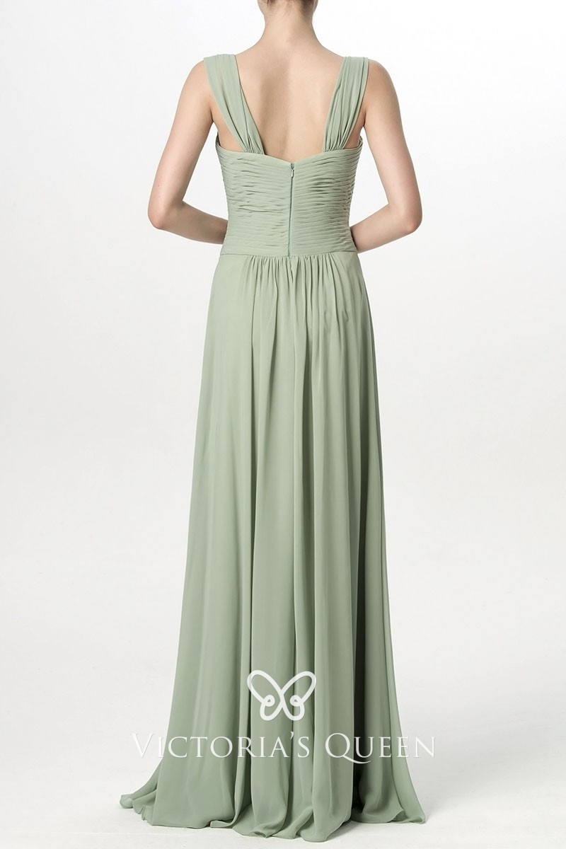 7a115155c77cff Sage Green Criss-cross Pleated Chiffon Queen Anne Neck Long ...