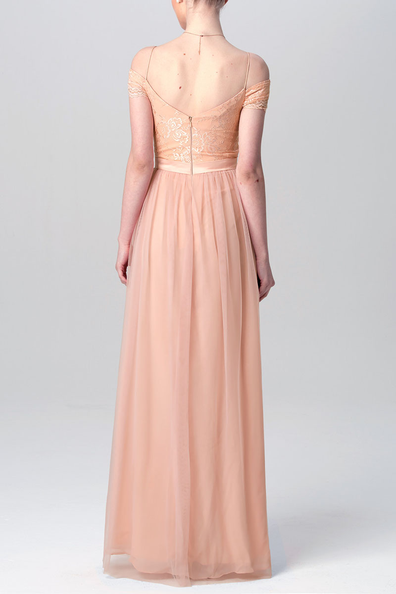 1ae3bf5d831 Unique Peach Lace and Tulle Off-the-shoulder A-line Long Bridesmaid ...
