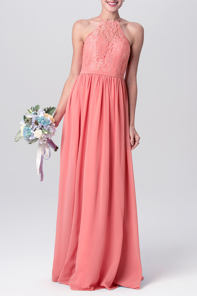 Coral Lace And Chiffon Cute Halter Long Bridesmaid Gown Vq