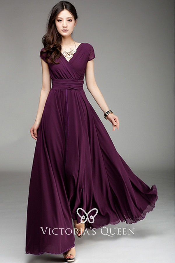 Wedding Guest Dresses With Sleeves.Simple Grape Purple Long Chiffon V Neck Short Sleeve A Line Wedding Guest Dress