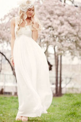 2cb009542687 White chiffon sweetheart spaghetti strap romantic empire long wedding dress