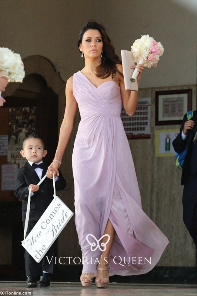 Modest Lilac Chiffon One Shoulder Sweetheart Side Split Long Bridesmaid  Dress