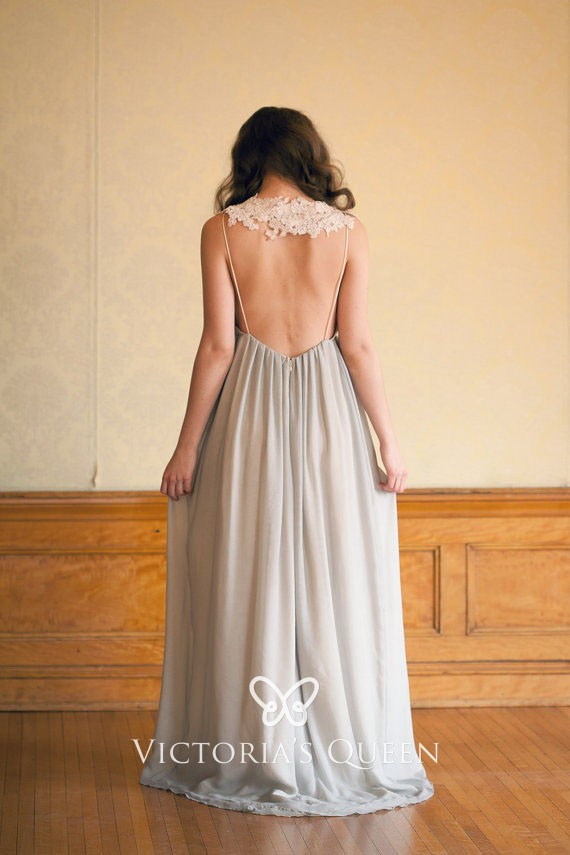 Smoky Gray Chiffon With Lace Cap Sleeve Evening Dress Vq