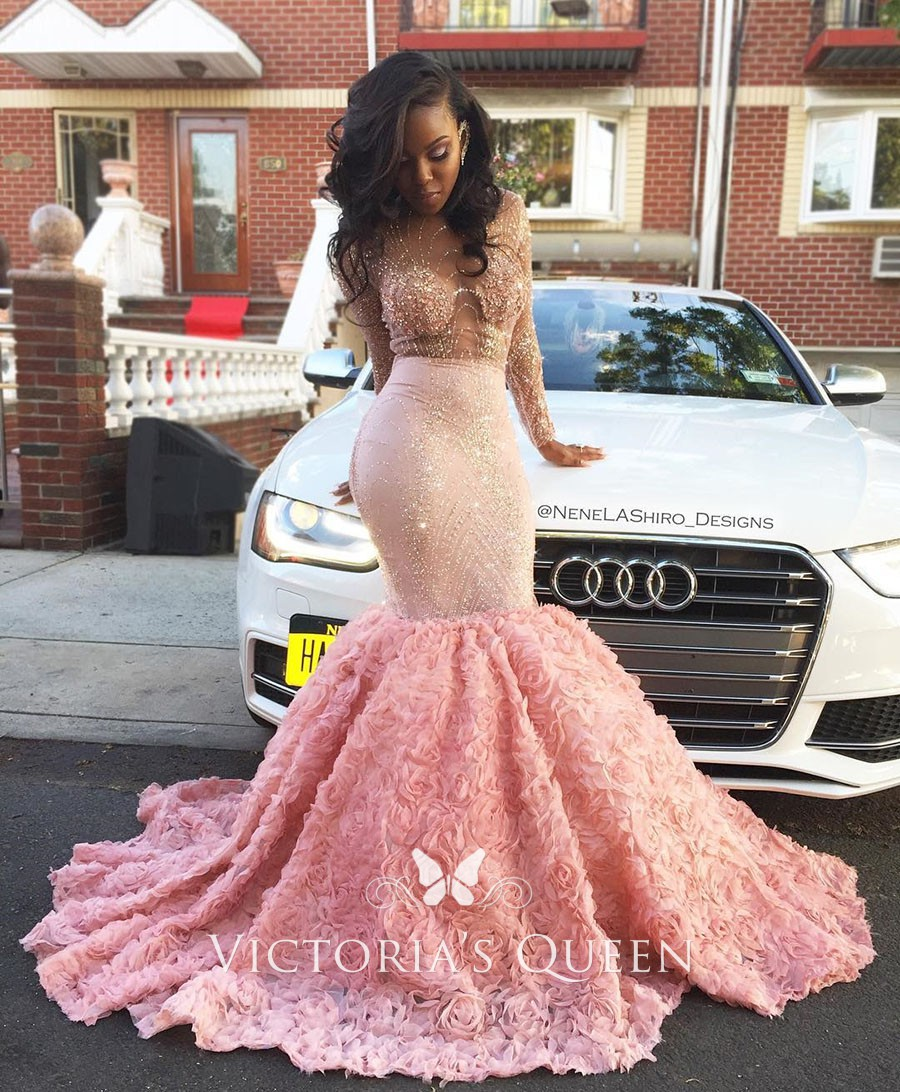 d641b128330b7 Beads Sequins Illusion Long Sleeve Pink 3D rose Trumpet Evening Prom Dress