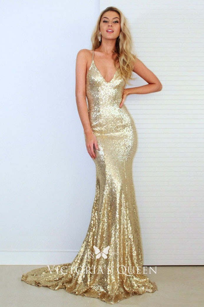 b56ed4aa Gold Sequin Deep V Neck Sweep Train Slim Mermaid Prom Dress ...