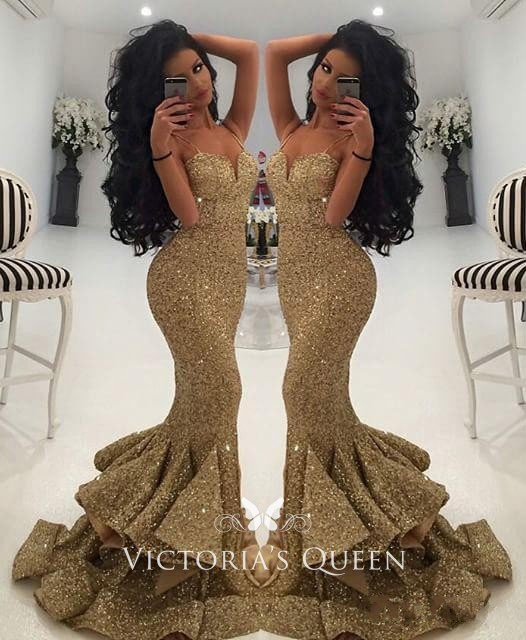 Stunning Gold Sequin Flounced Mermaid Prom Dresses With Spaghetti Straps