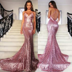 a87c80e4c1ce7 Rose pink Sequin spaghetti strap V Neck Backless Mermaid Prom Evening  Dresses
