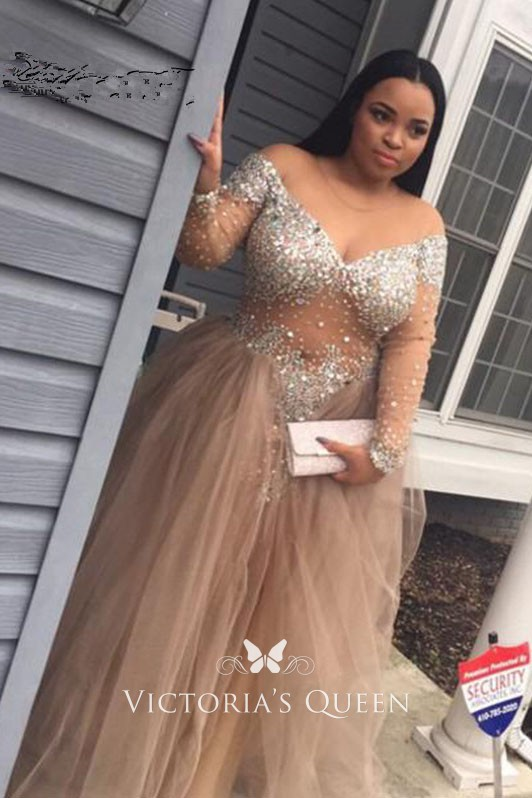 Plus Size Beaded Off-Shoulder Long Sleeve Prom Dress