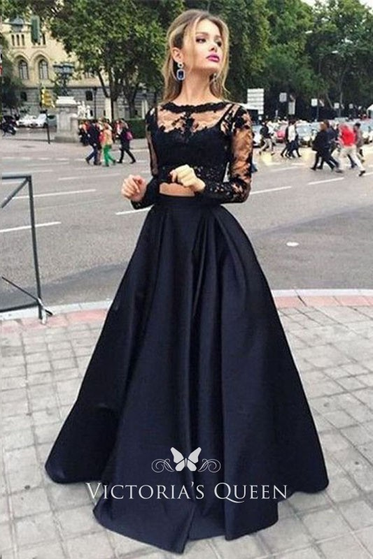 3c8d0b6f68a0 Two piece Black Illusion Long Sleeve Lace and Satin A line Long Prom Dress