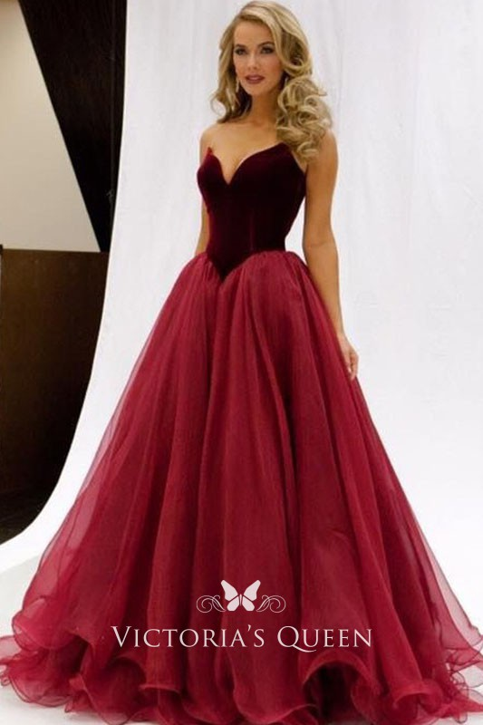 afa106900543 Charming Burgundy Velvet and Tulle V-Neck Long Prom Ball Gown ...