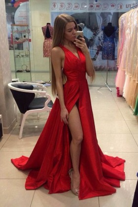 Sexy Red Satin V neck Sleeveless Thigh high Slit Long Prom Dress abe4a7f87